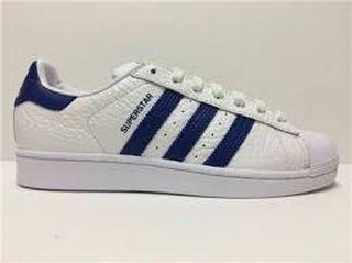 adidas superstar blancas y azules